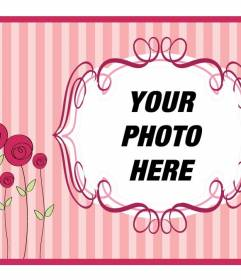 Mother's Day postcard with pink background with flowers to put your photo and text to congratulate her