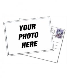 Targeta editable with your photo. Simple photo frame in which the image of your choice displayed in the frame of a postcard, with the envelope, seal it and kill-seal on a white background