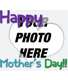 Greeting Card for Mother's Day. with a heart and colored text