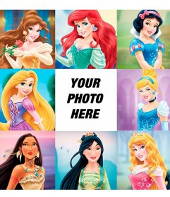 Children photo collage with the most famous Princesses of the world