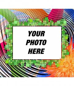 Montage to frame a photograph. Photo frame with psychedelic colors, and square waves. horizontal format
