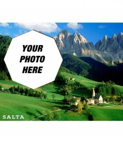 Postcard of a beautiful countryside image of Argentina with your photo
