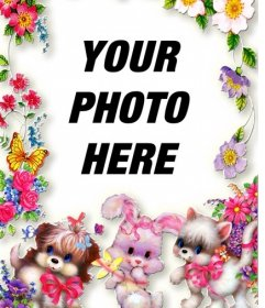 Photo frame with flowers and puppies. Upload your photo and put it in the background