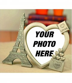 Frame for photos with a golden Eiffel Tower