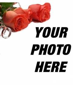Adorn your photos with red roses, which will give a romantic touch. Put your photo on background