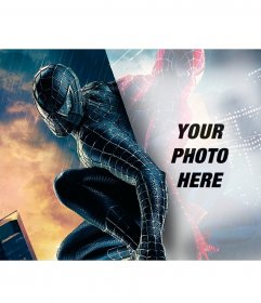 Photomontage to put your photo in the reflection of Spiderman