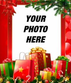 Christmas frame with many gifts to personalize with your photo