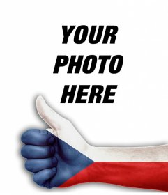 Hand with thumb up and the flag of Czech Republic to add your photo
