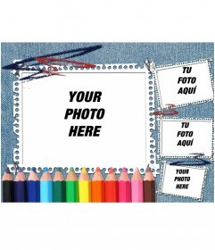 Ideal for back to school denim background and colored pencils. Your picture appears in the picture frame with strips of notebook