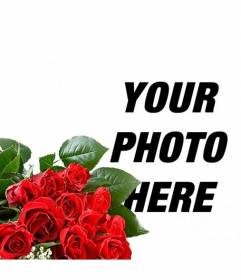 Add a romantic rose bouquet to your photos to give to your lover and add text online