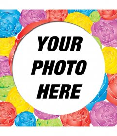 Decorate a photo to this round picture frame with roses of different colors. You can send it by e-mail or download it for free