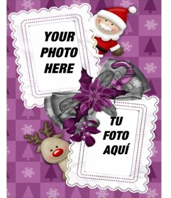 Frame for two photos, which we see Santa Claus and his reindeer Rudolf favorite. To send by email