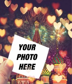 Collage with a background of Russia and a photo with hearts