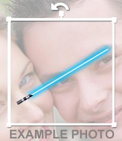 Sticker of a blue lightsaber of a Jedi