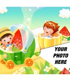 Children collage with fruity train ride to put pictures on