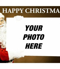 Original postcard online with Santa Claus holding your picture