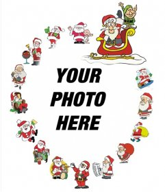 Nice frame with various Santa Claus to decorate photos