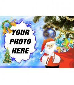 Illustrated Christmas card with Santa Claus to decorate your photos online