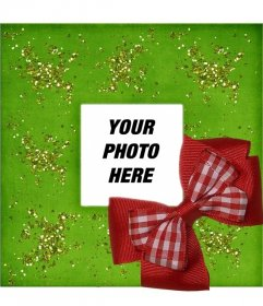 Christmas photo frame with red ribbon and green background
