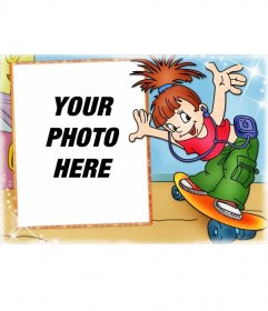 Skate girl photo frame for girls. Put your picture in the background