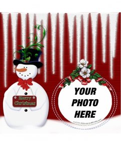 Rounded picture frame with a snowman where you can put your photo in a Christmas ball