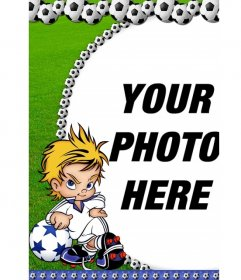Photo frame footballs for your photography. A child appears cocky player with attitude and the green grass background
