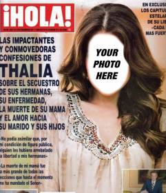 Look on the cover of the magazine HOLA editing this montage online