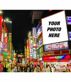 Photomontage in which you can place your photo on a neon sign on the building of a city in Japan