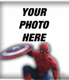 Spider Man with the shield of Captain America to put your photo