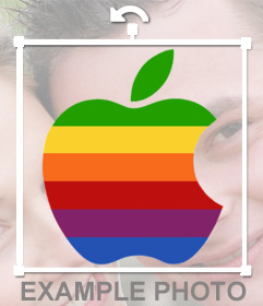 Apple logo sticker with colors to your photo