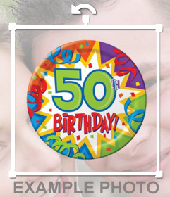 Photo effect to decorate your photos with a party balloon of 50th birthday