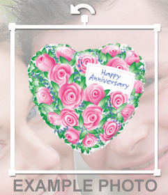 Shaped heart balloon with roses and the words HAPPY ANNIVERSARY for your photos