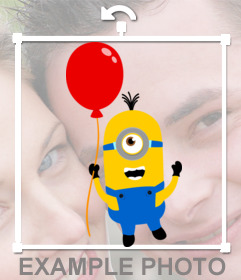 A Minion with a red balloon to put on your pictures