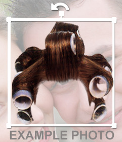 Sticker of a wig curlers to put in your photos