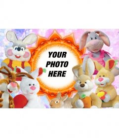 Photo frame surrounded by stuffed animals to put a picture of a baby