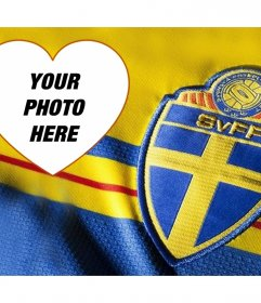Mounting to add your photo next to the football shirt of Sweden
