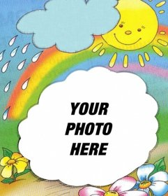 Photo frame with the sun on the background emerging from a cloud and the rainbow, where you can put your photo