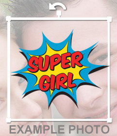 Online sticker of cartoon explosion and the phrase SUPER GIRL for your photos