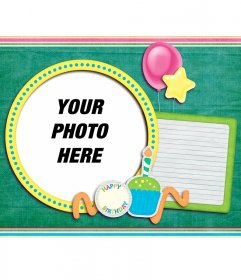Green Birthday Card with balloons with your photo