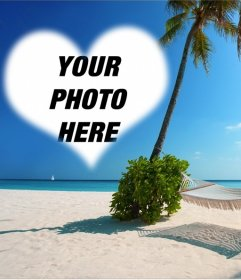Postcard to put your photo in heart shape on an island paradise