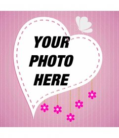 Heart shaped frame on pink background with dotted lines, butterfly and flowers