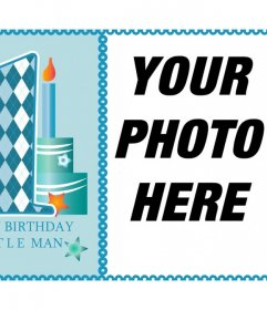 Celebrates the first year of your child with this card for a photo