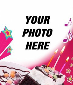 Birthday card where you upload a picture with a pink background, a cake with candles, stars and music