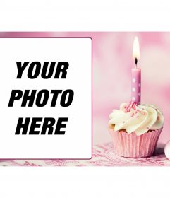 Pink birthday card with a picture frame and a cupcake with a candle
