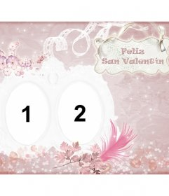 Pink Valentine card to congratulate where you can  put two photos
