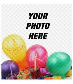 Birthday card with comic filter and some balloons to put the picture on the background and congratulate anyone