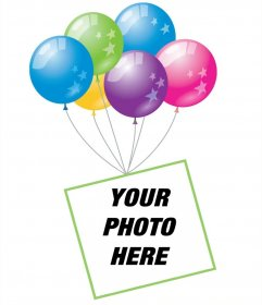 Photo effect with balloons and a floating frame to add your photo