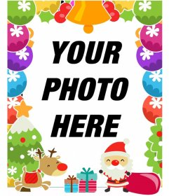 Colorful Christmas photo frame with Santa Claus and a reindeer
