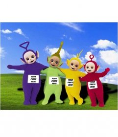 Photomontage in which your image is on the screen of the Teletubbies