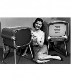 Photomontage in which you will leave in an old television